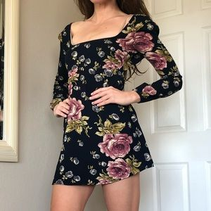 Navy, floral mini dress with back tie